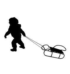 Child pulling sledge vector