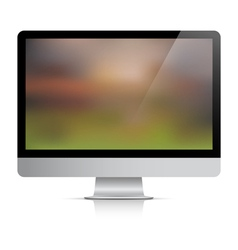 Computer monitor with abstract background on vector