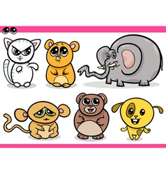 cute kawaii animals cartoons vector image