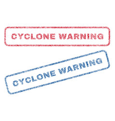 Cyclone warning textile stamps vector