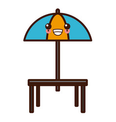 Desk and umbrella restaurant kawaii cute cartoon vector