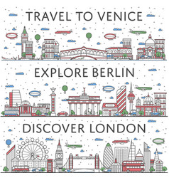 european traveling posters in linear style vector image