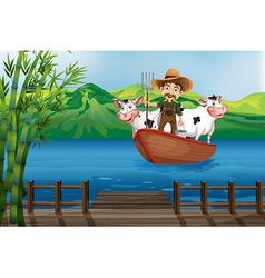 Farmer and boat vector