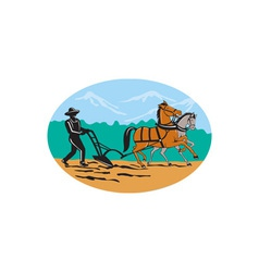 Farmer and horses plowing field cartoon vector