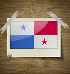 Flags panama at frame on wooden texture vector