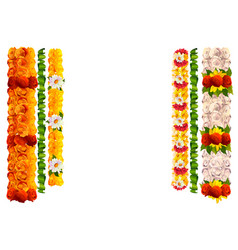 Flower garland rose and leaves for indian vector