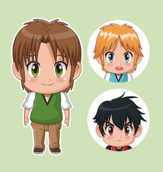 Green color set cute anime tennagers with facial vector
