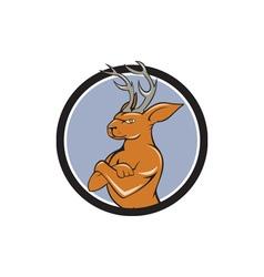 Jacklope arms crossed standing cartoon vector
