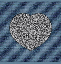 Jeans heart with spangles vector