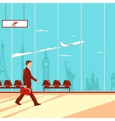 Man in airport airplane in sky and famous vector image vector image