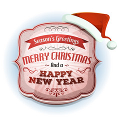 merry christmas and happy new years badge vector image