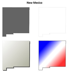 New Mexico outline map set vector image