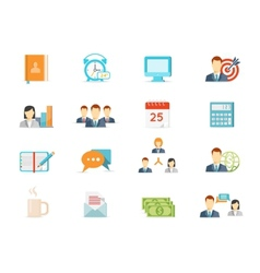 office work and management icons vector image vector image