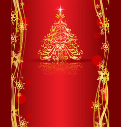 ornate golden christmas tree vector image vector image