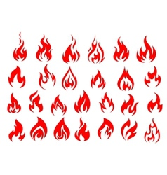 Red fire icons and pictograms set vector image