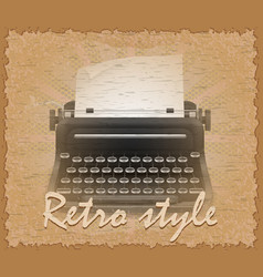 Retro style poster old typewriter vector