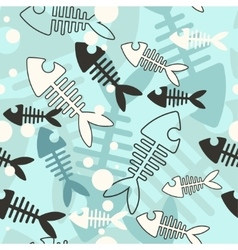 Seamless skeleton fish vector image