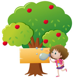 Sign template with apple tree and girl blowing vector