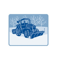 Snow plow tractor plowing winter scene vector image