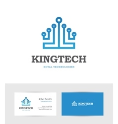 Technology logo looking like a king crown vector image vector image