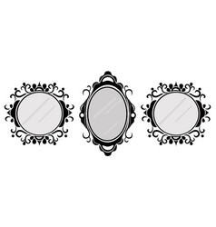 Vintage mirror frames set collection of vector