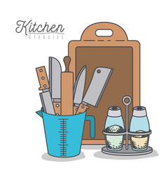 white background with colorful set kitchen vector image vector image