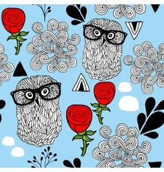 Winter owls seamless background vector image