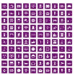 100 smart house icons set grunge purple vector