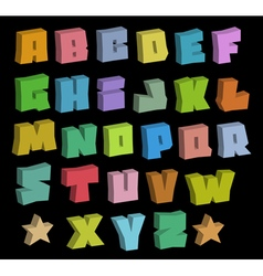 3d graffiti blocky color fonts alphabet over black vector