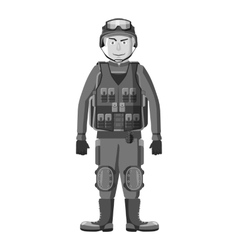 Soldier in body armor icon gray monochrome style vector