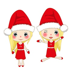 Cute Girl in Red Dress Christmas Day vector image