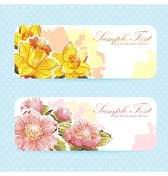 Beautiful flower sticker postcards vector