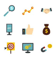 business company icons set flat style vector image