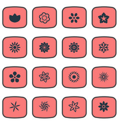 set of simple blossom icons vector image