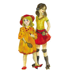 two girls watercolor vector image