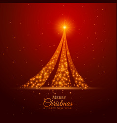 Red background with creative golden sparkle tree vector