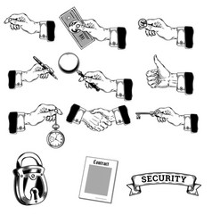 big set of icons of mens hands making vector image