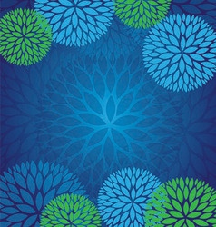 Blue green abstract flower pattern background vector