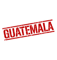 Guatemala red square stamp vector