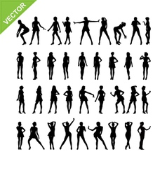 Sexy women silhouettes set 16 vector