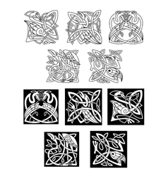 Heron and stork celtic ornaments vector