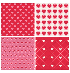 Valentines day heart patterns - 4 patterns vector
