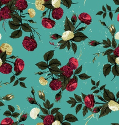 Seamless floral pattern with red and white roses vector