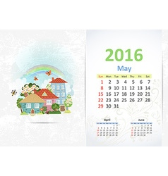 Cute sweet town calendar for 2016 may vector