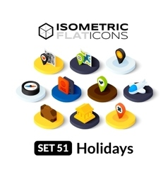 Isometric flat icons set 51 vector
