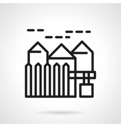 Suburban real estate simple line icon vector