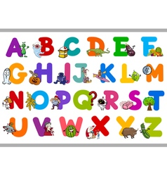 Funny alphabet for kindergartens vector