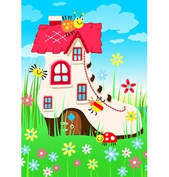 Shoe house with bugs and flowers vector