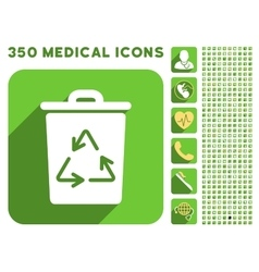 Trash can icon and medical longshadow icon set vector