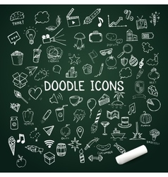 Set of doodle icons hand-drawn objects vector image